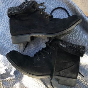 Black faux swede booties